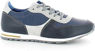 Scarpa sportiva in pelle blu e camoscio grigio N. 42