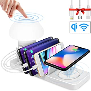 USB Charging Station for Multiple Devices- Fast Charging Dock Organizer with 3 USB Ports and 1 Qi Wireless Charging Pad for iPhone,Ipad, Samsung, Android Phone Tablet with Night Light
