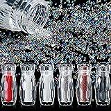 6 Botellas Micro Abalorios de Caviar Cuentas de Duendecillo de Uñas Diamantes de Imitación de Grava Gemas Cristal para Arte de Uñas 3D (Transparente, AB Color, Dorado Rosado, Plateado, Rojo, Negro)
