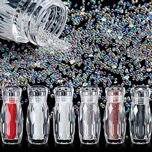6 Flaschen Mikro Kaviar Perlen Mikro Pixie Perlen Mikro Nagel Perlen Kies Nagel Diamanten Stein AB Kristall Strass Bunte Nagel Dekorationen (Klar, AB Farbe, Roségold, Silber, Rot, Schwarz)