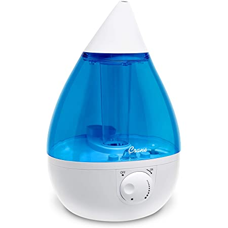Crane Drop Ultrasonic Cool Mist Humidifier, Filter Free, 1 Gallon, 500 Sq Ft Coverage, Air Humidifier for Plants Home Bedroom Baby Nursery and Office, Blue and White (Renewed)