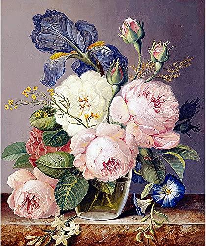 RNTJRTT Malowanie według numerów zestawy kwiat piwonii DIY obraz na płótnie dla dorosłych i dzieci z 3 pędzlami i farbami akrylowymi bez ramy 40 * 50 cm