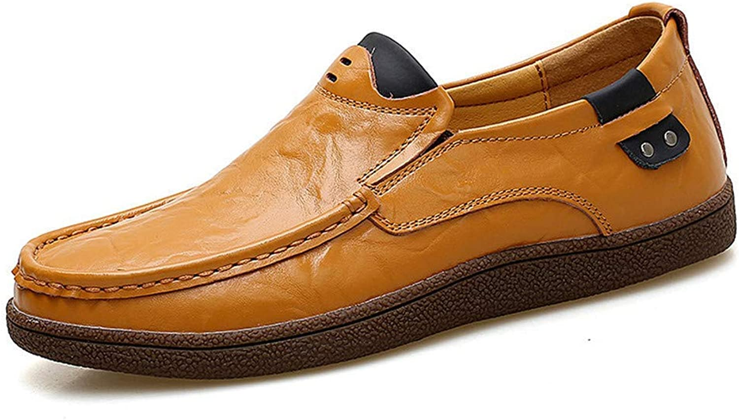 ZHRUI Men Loafers Flats Soft Leather Handmade Moccasins Sandals (color   Yellow Brown, Size   10=45 EU)
