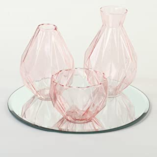 Koyal Wholesale Cocktail Table Bud Vase Assortment Centerpiece with Round Bevel Mirror, High Table Modern Decorations for Wedding, Graduation, Baby Shower (Pink)