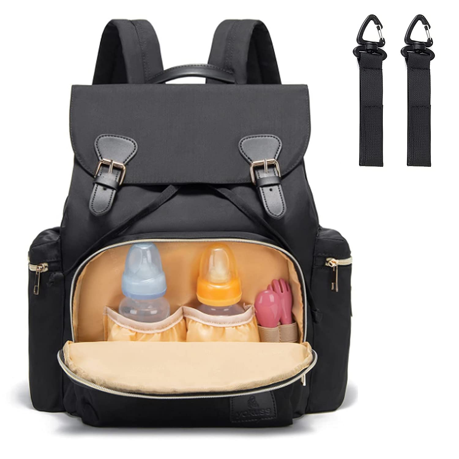 Diaper Bag Backpack, YaKuss Baby Bags Maternity Nappy Changing Bag for Mom and Dad Multifunction Waterproof Travel Back Pack, Large Capacity, Lightweight and Durable, Black