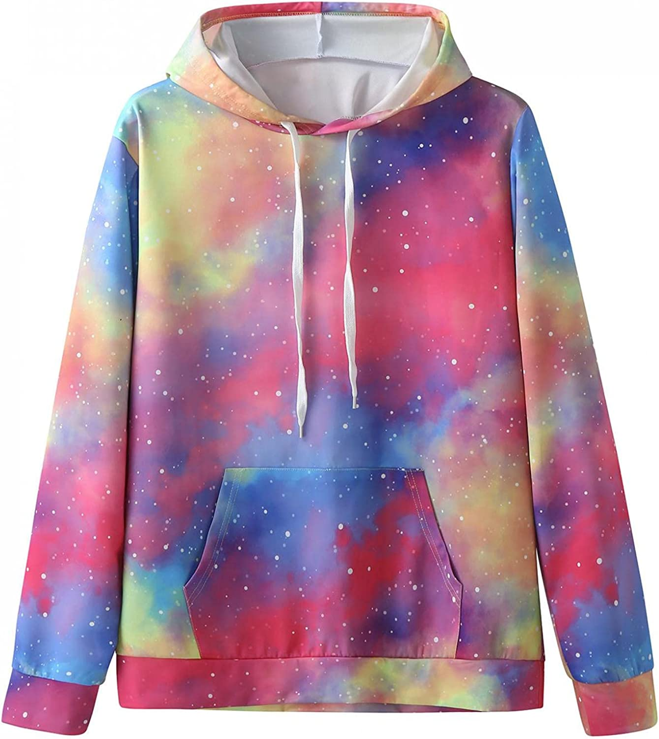 Qsctys Men's Fashion Hoodies Long Sleeve Tie Dye 3D Print Hooded Sweatshirts Casual Pullover Lightweight Big and Tall