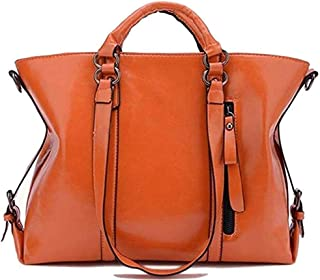 AMAZACER Women Handbag Large Capacity, 14 Inch Laptop Tote, Oil Max Leather Shoulder Crossbody Bag with Adjustable Strap for Shopping, Work Daily Use (Color : Brown)