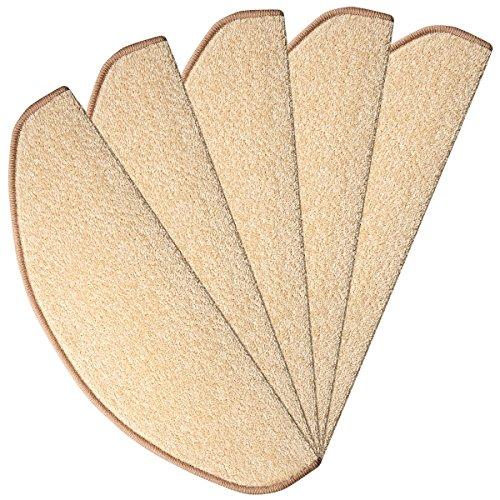 havatex Velours Stufenmatte Trend 24 cm x 65 cm / 15 Stück - schadstoffgeprüft pflegeleicht schmutzresistent robust strapazierfähig Treppe Treppenschutz Stufenschoner, Farbe:Creme