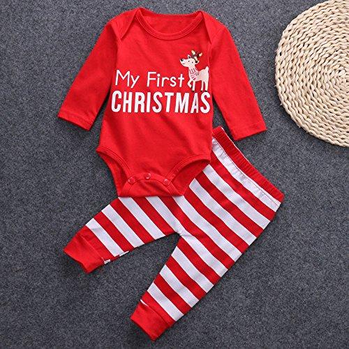 Vovotrade baby kinderen lange mouwen Kerstmis kostuum My First Christmas briefdruk kleine kinderen baby jongen meisjes Cosplay kostuum romler hoed + stramler overall + broek outfits set
