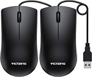 VicTsing Computer Mouse 2 Pack, 2019 Upgraded USB Mouse Optical Wired Mouse with 25% Higher Effeciency for Office Work, Compatible with Computer Laptop, PC, Desktop, Windows 7/8/10/XP, Vista and Mac