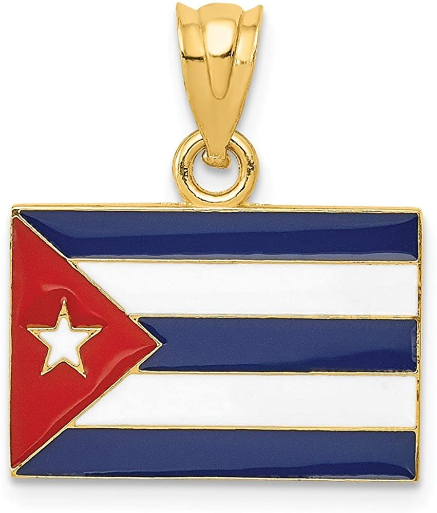 14k Yellow Gold Enameled Cuba Flag Pendant Charm Necklace Travel Transportation Destination Fine Jewelry For Women Gifts For Her