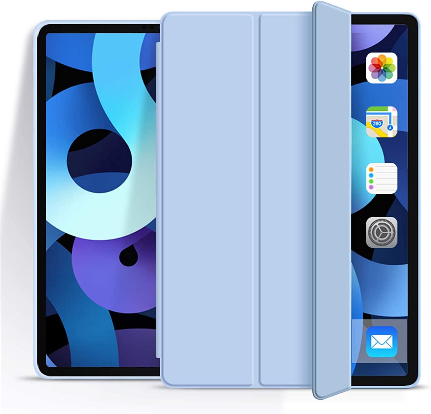 Aoub Case for iPad Pro 11 2021, Ultra Slim Lightweight Trifold Stand Smart Auto Sleep/Wake Cover, Soft TPU Silicone Back Case for iPad Pro 3rd Generation 11 inch, Sky Blue