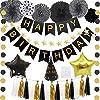 誕生日 飾り付け 黒金 パーティー セット Happy Birthdayバースデーバナー タッセルガーランド 紙扇セット 星形アルミ風船 ガーランド(星) ガーランド(ラウンド) 三角帽子 パーティー 豪華 全年齢 誕生日 装飾 バースデー パーティー 飾り
