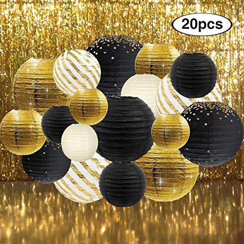 NICROLANDEE - Farol de papel de aluminio metálico con cortinas de flecos metálicos de aluminio dorado para graduación 2020 graduación, noche, bodas, cumpleaños, aniversarios, fiestas