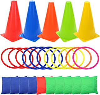 Allure Maek 3 in 1 Carnival Games Set, Soft Plastic Cones Set Bean Bag Ring Toss Games for Kids Birthday Carnival Party Outdoor Games Supplies 26 Piece Combo Set
