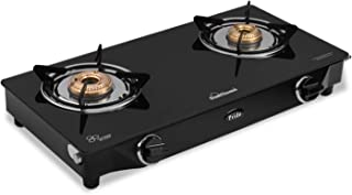 Sunflame GT Pride Glass Top 2 Brass Burner Gas Stove (Manual Ignition, Black)