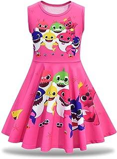 Rohero Little Girls Baby Princess Casual Dress Shark Cartoon Print Pageant Gown Party Dress Sundress