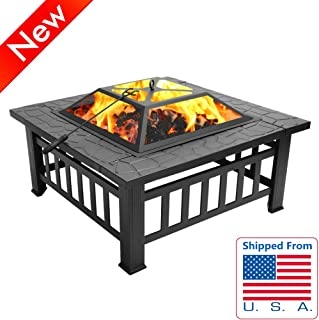 Jresboen Multifunctional Fire Pits Outdoor Wood Burning, 11.5kg Thicken Metal Fire Bowls Outdoor Wood Burning Fire Pit Table Firepit with Grate, Poker and Mesh Cover for Outside Patio Garden Camping