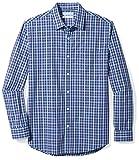 Amazon Essentials Men's Regular-Fit Long-Sleeve Casual Poplin Shirt, navy plaid, X-Large