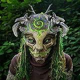 Máscara de espíritu del Bosque de Halloween, máscara de Elfos Verdes realistas con luz LED, máscara de espíritu del Bosque, Correa de Hombro Ajustable, Disfraz (Luminoso, sin Pelo)