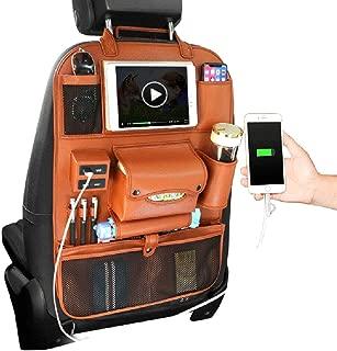 PU Voiture Multi-Fonction Sac De Rangement De Si/ège Chaise Poche Au Dos avec 4 Interfaces USB Imperm/éable Voiture Organisateur Protecteurs avec Multi-Poches HOPELJ Sac De Rangement De Voiture