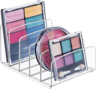 mDesign Plastic Divided Makeup Organizer for Bathroom Countertops, Vanities, Cabinets - Cosmetic Storage Solution for, Eyeshadow Palettes, Contour Kits, Blush, Face Powder - 5 Sections - Clear