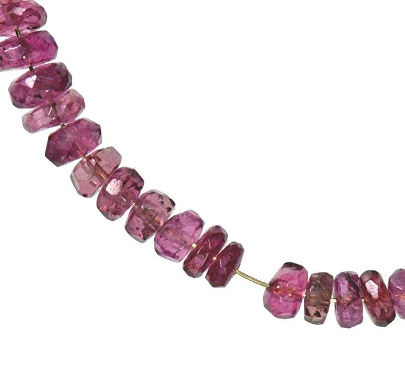 uGems Pink Tourmaline Diamond Beads Genuine Facet on 14K Wire 2mm Tiny 2 1/2 Inches