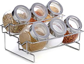 SPNEC Seasoning Tank-Seasoning Bottle Set Glass Storage Tank Rack 6-Jar Compact Spice Rack for Kitchen Camping Picnic