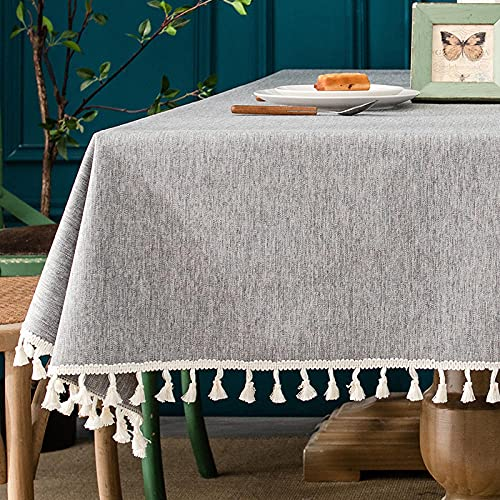XQSSB Mantel de Mesa Manteles Impermeable Anti Escaldaduras Manteles Rectangulares de Mesa de Café Manteles Gris 140 × 220cm