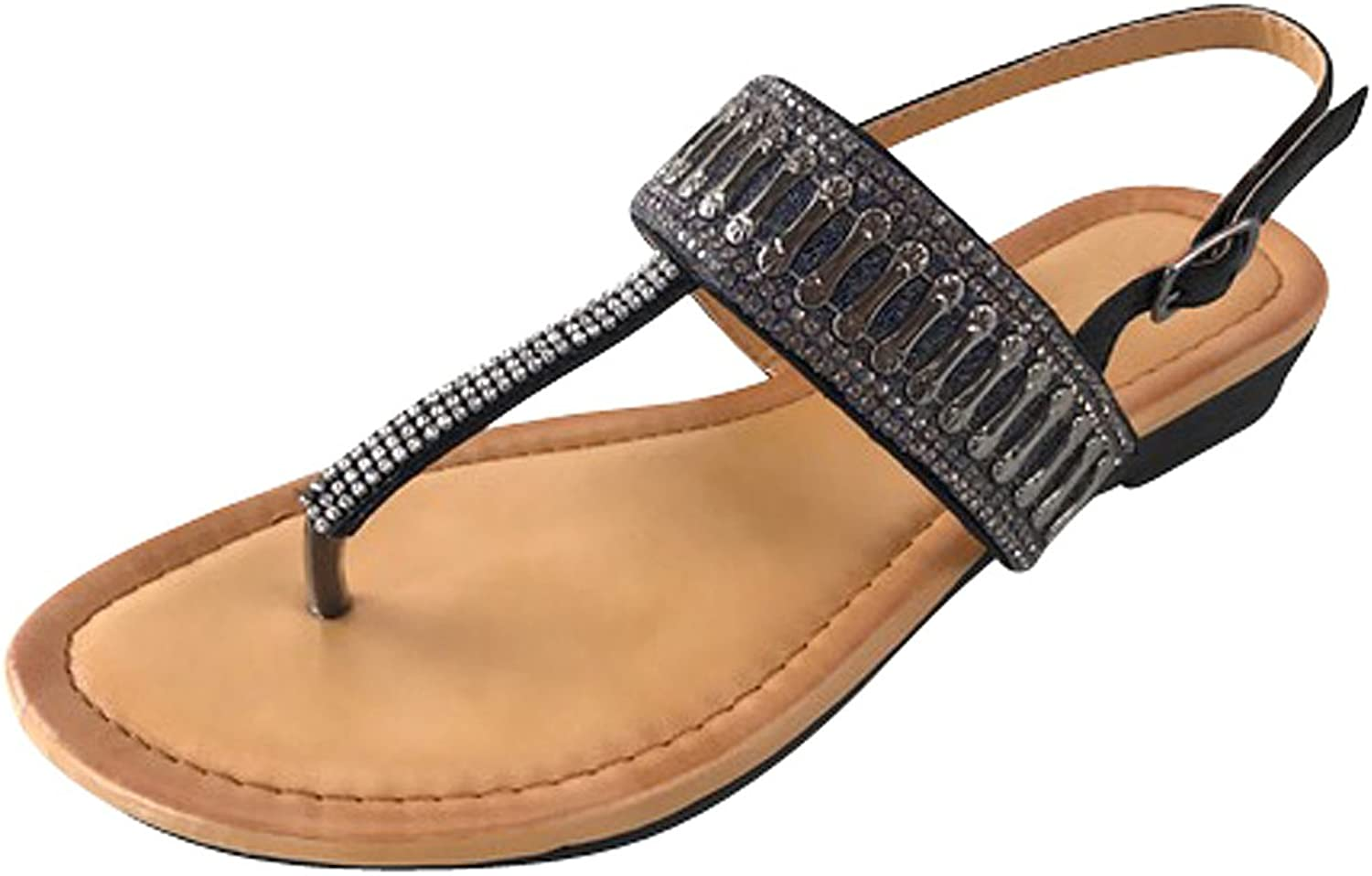 Cambridge Select Women's Crystal Glitter Rhinestone Beaded Thong T-Strap Low Wedge Sandal