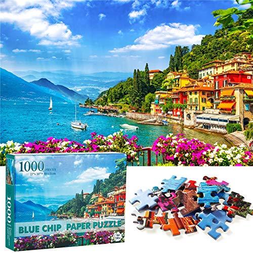 MojiDecor Rompecabezas Puzzle 1000 Piezas, Puzzle Paisaje de Varenna Italia, Educa Inteligencia Jigsaw Puzzles con Marco Puzzles de Suelo para Adultos y Niños a Partir de 14 Años. (69x51cm)