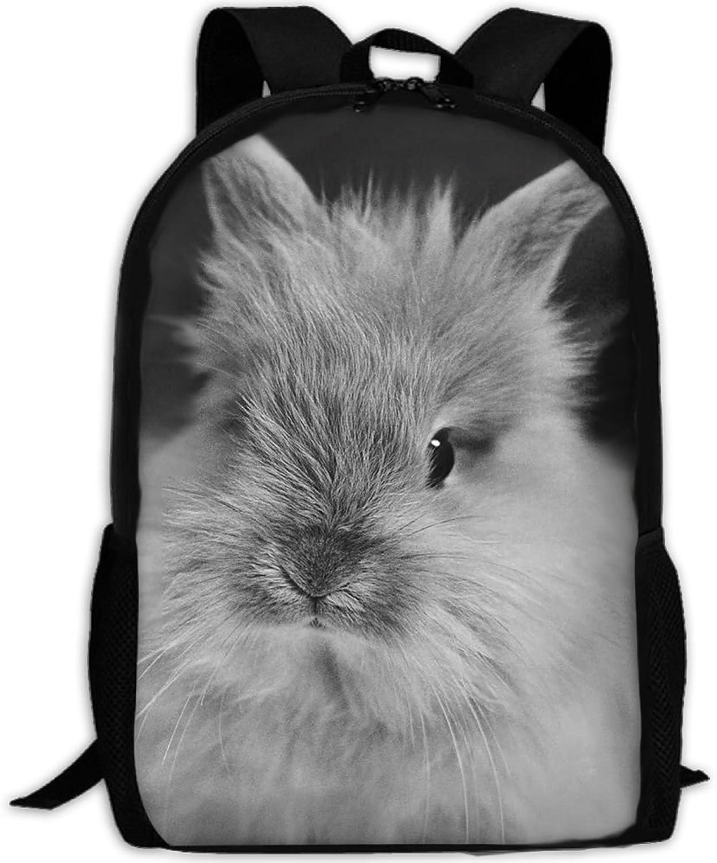 Adult Backpack Grey Rabbit College Daypack Oxford Bag Unisex Business Travel Sports Bag with Adjustable Strap