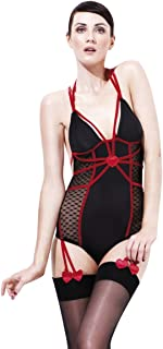 Smiffys Fever Sweetheart Amore Bodysuit With Suspenders, Multi-Colour, Medium, 26557M