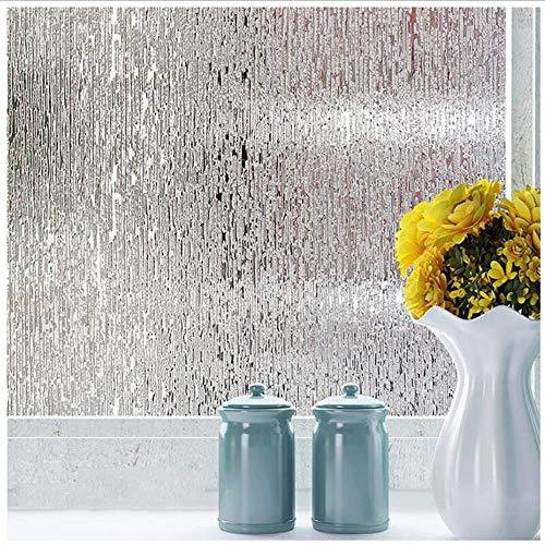 Breed 45/60/90 cm Statische vastklevende raamfolie Mat Privacy Glas Raamsticker Geen lijm Waterdicht Kiss The Rain Slaapkamer Badkamer, breed 60 cm lang 100 cm