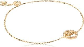 Michael Kors Women Cubic Zirconia Sterling Silver MK Logo Bracelet, Rose Gold