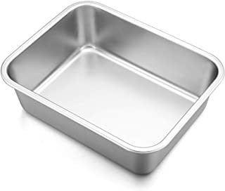 "Lasagna Deep Baking Pan - 10.7"" x 8.3"" x 3.2"",P&P CHEF Rectangular Cake Pan Cookie Bakeware Stainless Steel for Brownie/Br..."