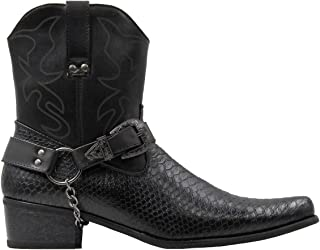 Stylish & Comfort Shoes Men's Belt Buckle Metal Chain Snake Pattern with Side Zipper Cowboy Boots