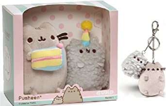 GUND Plush Birthday Pusheen Collectible Set Bundle with Pusheen and Stormy Keychain