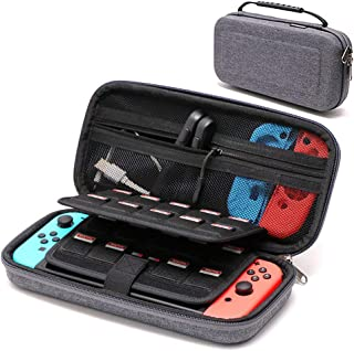 [GHKJOK]スイッチケース Nintendo Switchケース ニンテンドースイッチ保護ケース 任天堂スイッチキャリングケース 防水ナイロン 耐衝撃ベルベット 大容量 19+2個のゲームカード ケーブル イヤホン など小物収納可能 防塵防汚 アウトドア旅行キャンピング用ポータブルバッグ EVA素材 ブラック 赤い 灰色