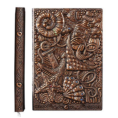YHH a5 libreta tapa dura bonitas, diario personal 200 páginas rayas, diario de viaje cuero vegano relieve Cuaderno vintage journal notebook para Mujer Hombre Adulto Infantil 3d Underwater cobre