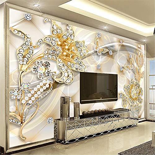 JIYOTTF 3D Wandbild Fototapete Kinder Schlafzimmer DekorationGold Modern Botanisch Floral(W 400 x H 280cm) Tapete Wandbilder Große Wandmalerei Wandbild Wandaufkleber 3D Wallpaper