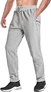 Men's Elastic Joggers Open Bottom Running Pants Comfortable Casual Trousers with Zipper Pockets
