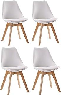 SENJA - Lote de sillas escandinavas - Cualquier Comodidad - Cojín de Asiento Suave y Respaldo Envolvente - Cocina, Comedor, Oficina - Blanco - X4