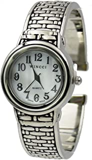 Women's Vintage Weaving Design Easy to Read Bangle Cuff Watch