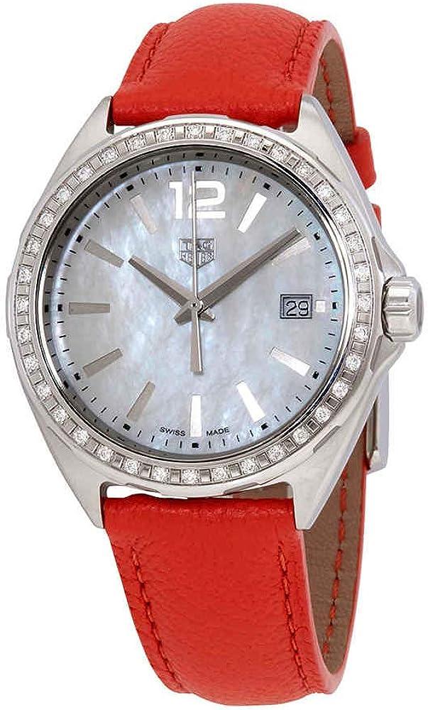 tag heuer formula 1, orologio per donna, in acciaio con cinturino in pelle arancione, ghiera con diamanti wbj131a.fc8250