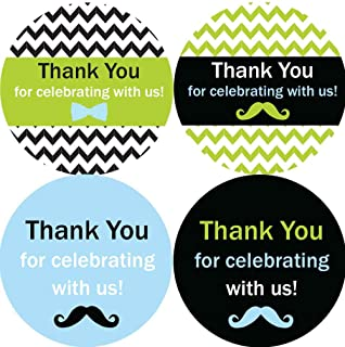2 Inch Thank You Stickers Little Man Set of 60