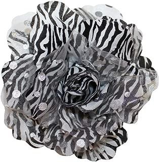 WD2U Large Zebra Animal Print Rose Silk Flower Hair Bow Clip or Brooch Pin Black
