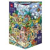 Heye 29744 - Triángulo Puzzle, Happy Town Triangulares 1.500 Partes, Rita Berman, Multicolor