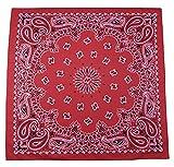 Gigantic 35 x 35 inch Grande Paisley Cotton Red Bandana USA Made