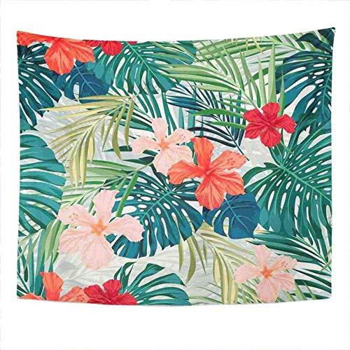 Tapiz Rojo Vintage Flores Hawaianas y Flamenco Vintage Tahití Aloha Playa pájaro Tapiz Dormitorio decoración de la habitación Colgante de Pared Tapiz de Arte de Pared 150 cm x 200 cm